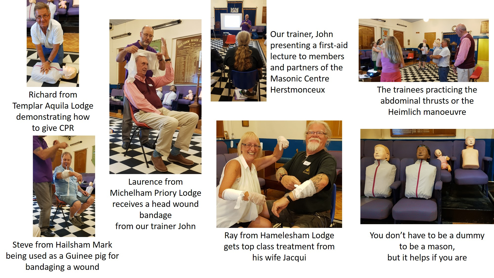 The members and partners taking part in the first aid training course held at the Herstmonceux Masonic Centre